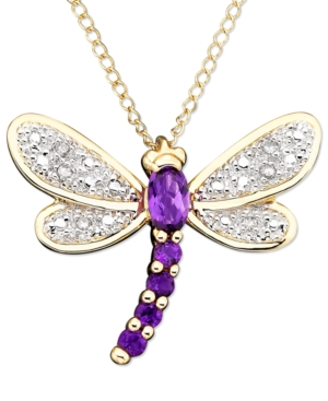 14k Gold Amethyst (1/4 ct. t.w.) & Diamond Accent Dragonfly Pendant