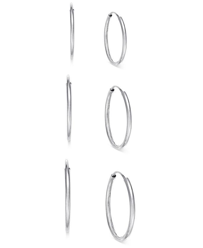 Macy's - 3-Pc. Set Endless Hoop Earrings in 10k White Gold