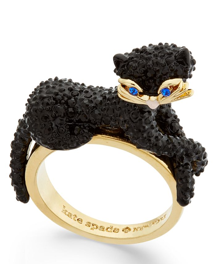 kate spade new york - Gold-Tone Jet Pavé Three-Dimensional Cat Statement Ring