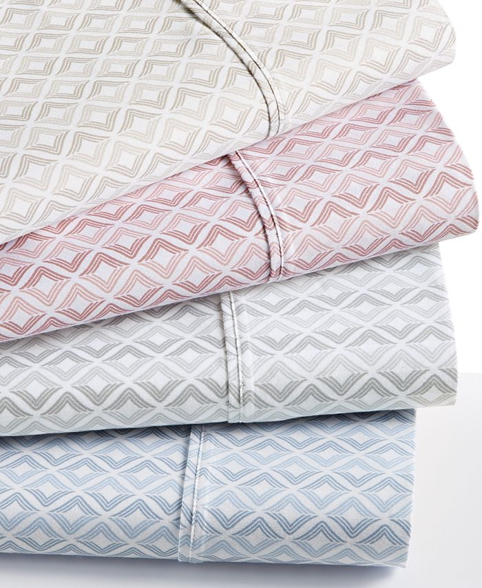 Sunham - Sorrento Stripe Ogee-Print 500 Thread Count Extra-Deep 6-Pc. Queen Sheet Set