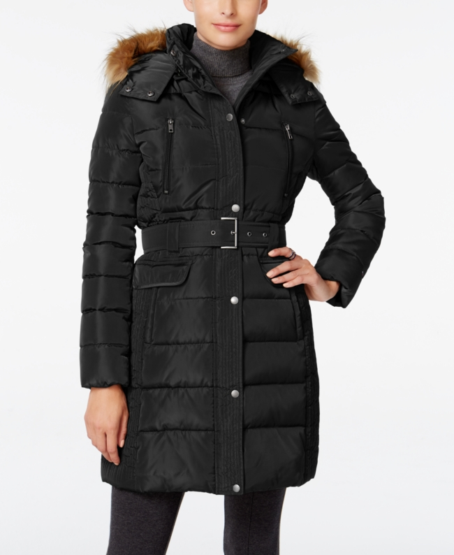 Tommy Hilfiger Faux Fur Trim Hooded Belted Puffer Coat | Clothing