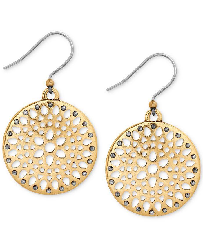 Lucky Brand - Two-Tone Openwork Disc Drop Earrings