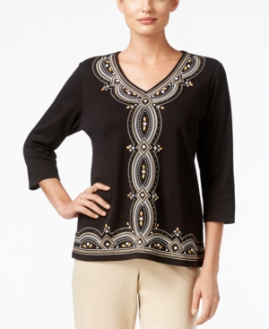 1920sStyleBlouses Alfred Dunner Petite Madison Park Beaded Embroidered Top $21.99 AT vintagedancer.com