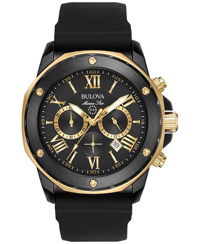Bulova - Men's Chronograph Marine Star Black Silicone Strap Watch 44mm 98B278