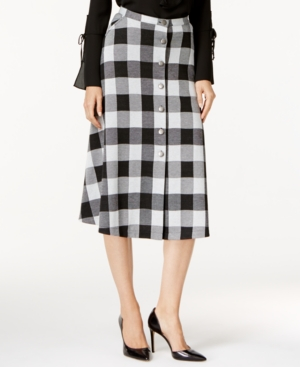 1960s Style Skirts Ny Collection Plaid Ponte A-Line Skirt $14.99 AT vintagedancer.com
