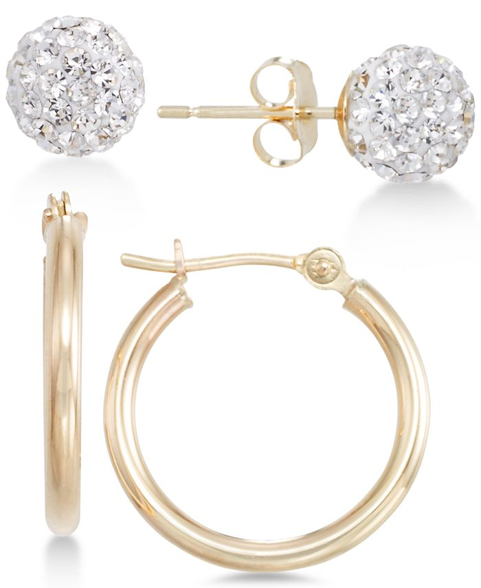 Macy's - 2-Pc. Set Crystal Fireball Stud and Polished Hoop Earrings in 10k Gold