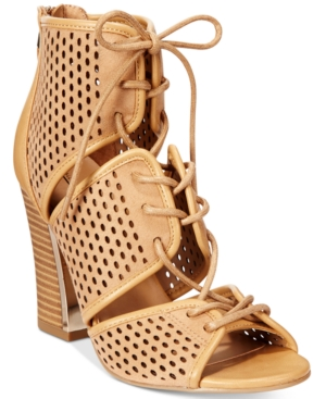 Call It Spring Ciracia Lace-Up Block-Heel Sandals Women's Shoes
