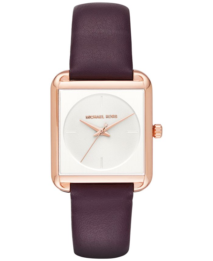 Michael Kors - Women's Lake Plum Leather Strap Watch 32x39mm MK2585