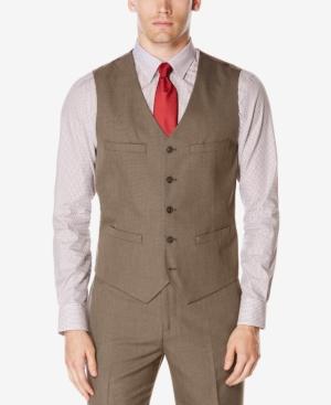 Men's Vintage Inspired Vests Perry Ellis Mens Subtle Plaid Twill Vest Suit Separate $34.99 AT vintagedancer.com