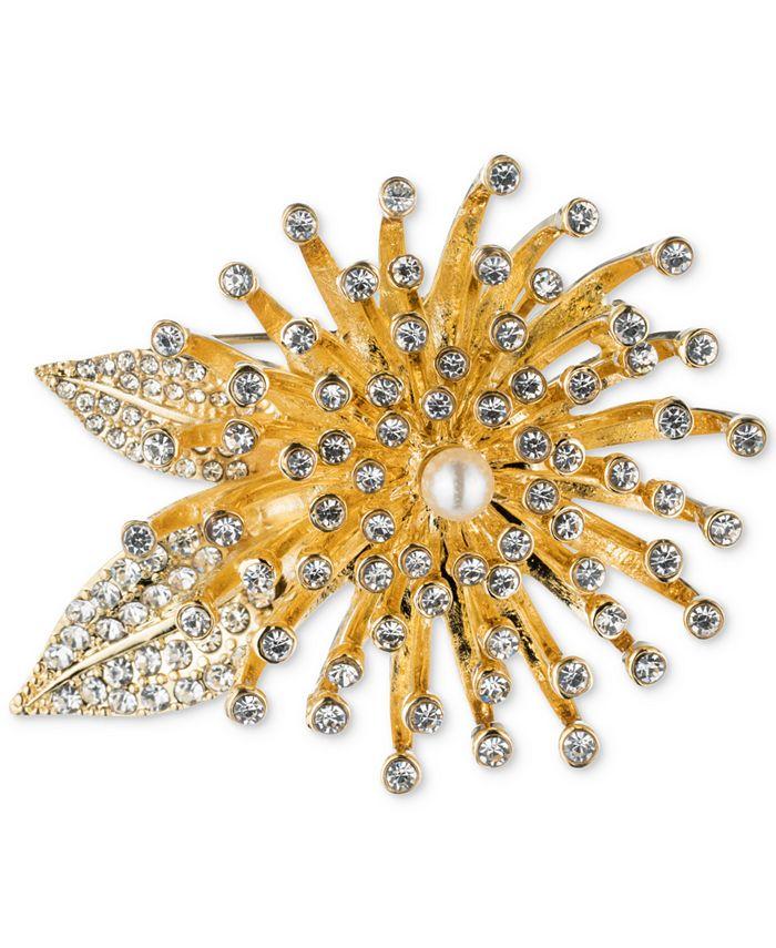 Anne Klein - Gold-Tone Crystal Flower Burst Pin