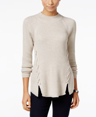 Image of Style & Co. Mock-Neck Lace-Up Sweater, Only at Macy's