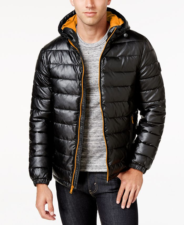 Cole Haan - Men's Faux-Leather Puffer Coat