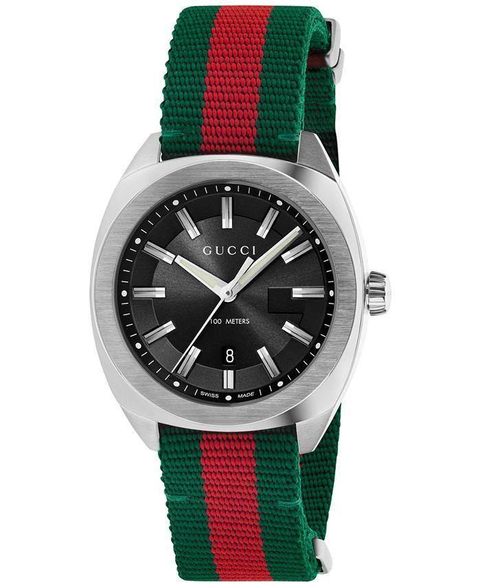 Gucci - Men's Swiss Cushion Green-Red-Green Web Nylon Strap Watch 41mm YA142305