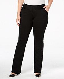 Alfani Plus Size Tummy-Control Faux-Leather Trim Trousers, Created for Macy's