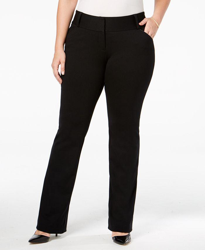Alfani - Plus Size Tummy-Control Piped-Pocket Trousers