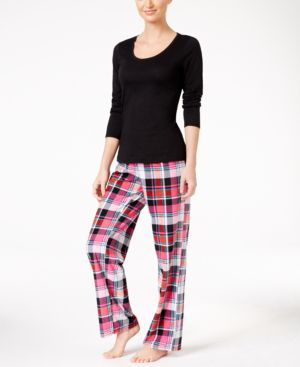Jenni by Jennifer Moore Knit Top and Printed Fleece Pants Pajama Set,...
