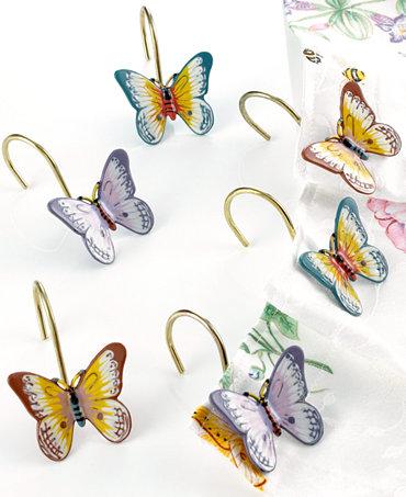 Lenox Butterfly Meadow Shower Curtain Hooks Set Of 12 Bathroom Accessories Bed Bath