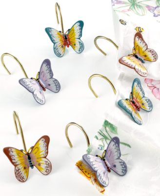 "Lenox ""Butterfly Meadow"" Shower Curtain Hooks, Set of 12"