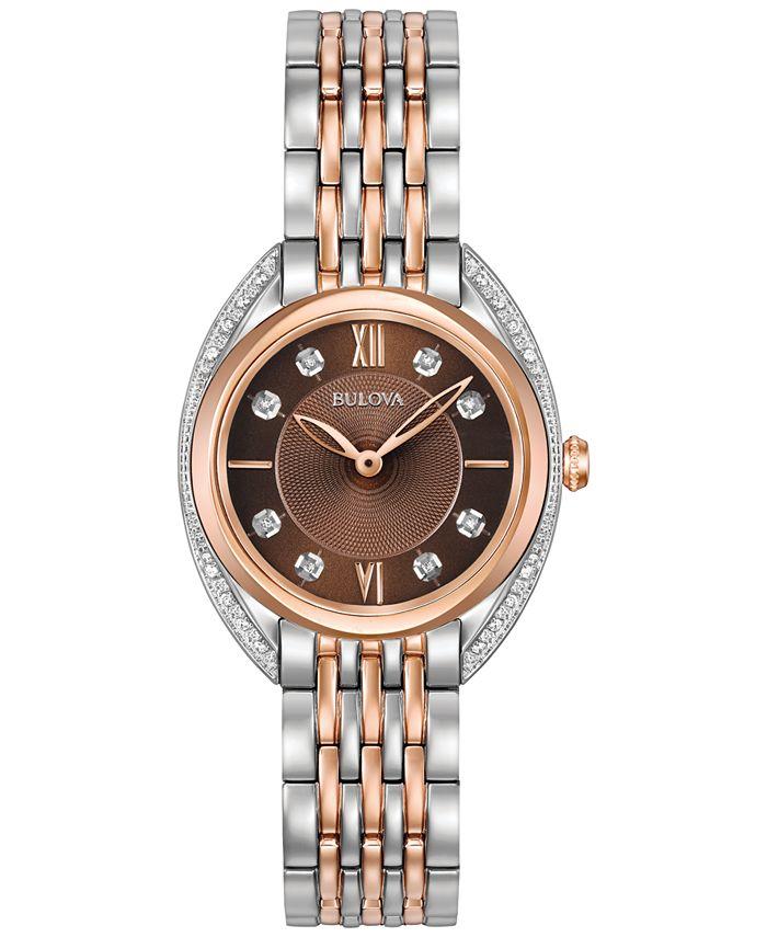 Bulova - Women's Diamond Accent Two-Tone Stainless Steel Bracelet Watch 30mm 98R230