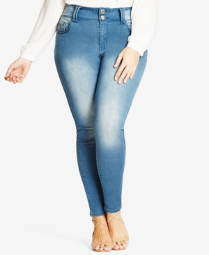 City Chic Trendy Plus Size Asha Light Wash Skinny Jeans