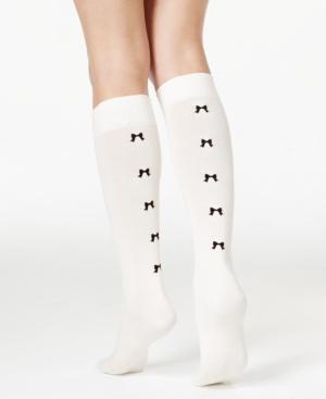 1950s Socks- Women's Bobby Socks kate spade new york Womens Flocked Bow Knee-High Socks $8.40 AT vintagedancer.com