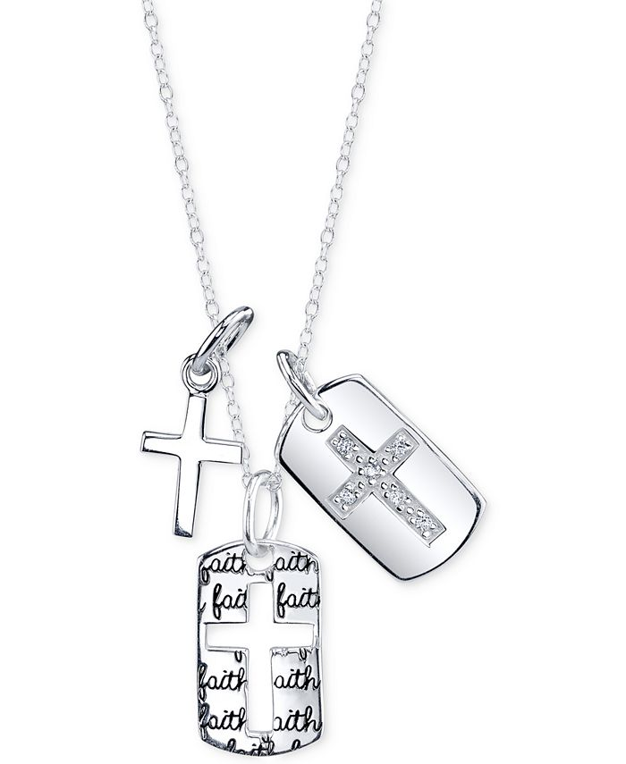 Unwritten - Cubic Zirconia Three Cross Pendant Necklace in Sterling Silver