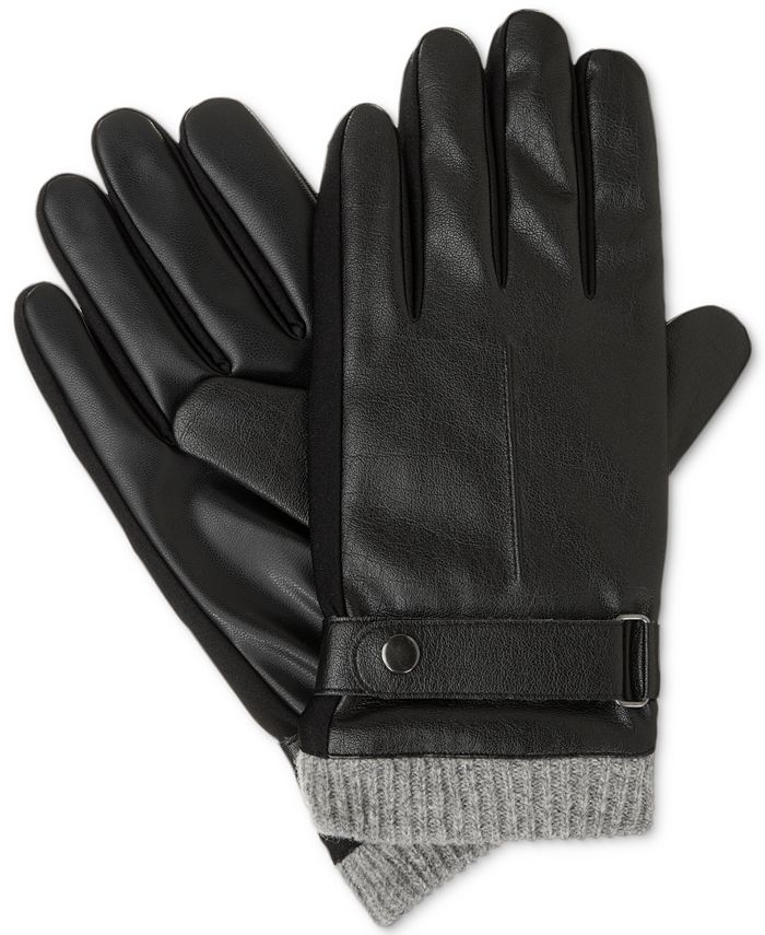 Isotoner Signature - Men's Faux Leather smarTouch® Gloves