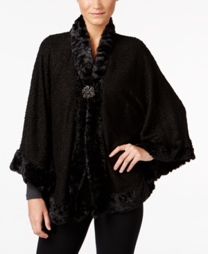1950s Style Coats and Jackets Jm Collection Faux-Fur-Trim Poncho Only at Macys $25.99 AT vintagedancer.com