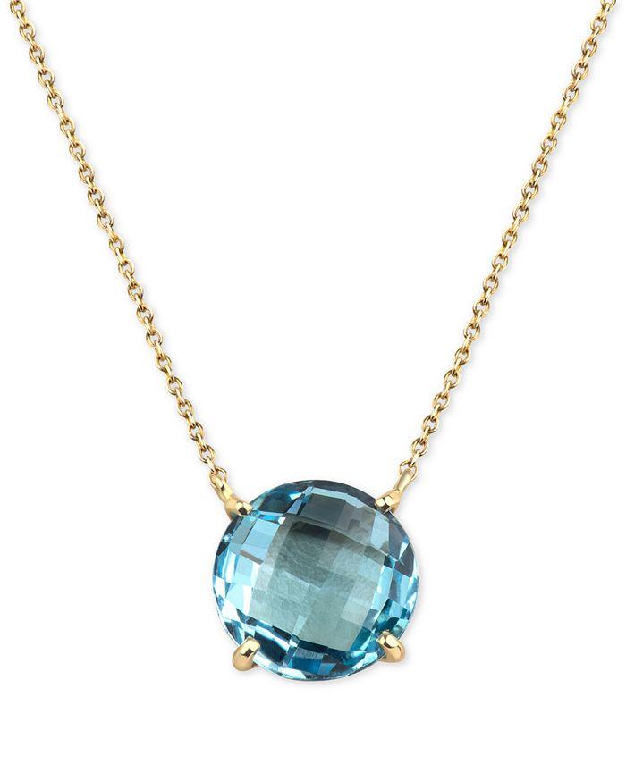 Macy's - Blue Topaz Pendant Necklace (8 ct. t.w.) in 14k Gold