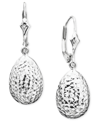 14k White Gold Leverback Earrings - Dangle Earrings