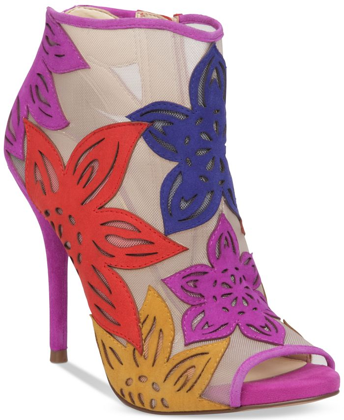Jessica Simpson - Bliths Floral & Mesh Peep-Toe Ankle Booties