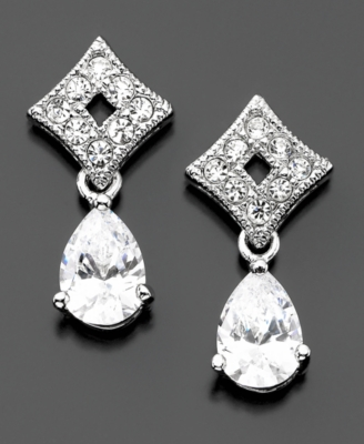 Eliot Danori Cubic Zirconia (1-1/2 ct. t.w.) & Crystal Drop Earrings - Jewelry