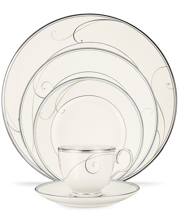 Noritake Dinnerware, Platinum Wave Round 5 Piece Place Setting