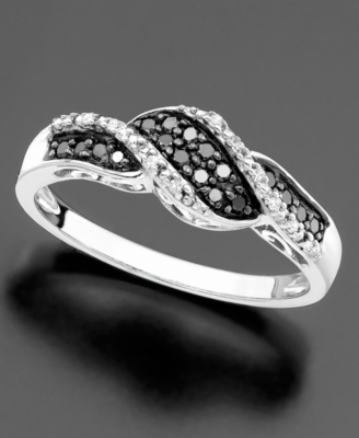 14k White Gold Black & White Diamond Ring (1/5 ct. t.w.)