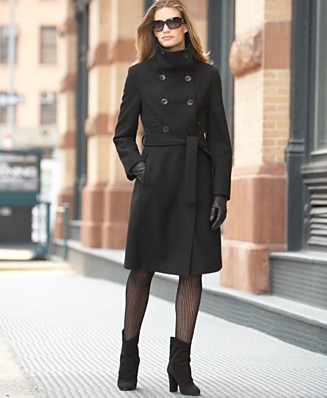 Calvin Klein Double-Breasted Stand-Collar Wool Coat with Belt - Coats 50-75% Off - Women's - Macy's :  women winter coats tie waist klein