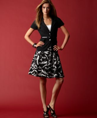 INC International Concepts® Belted Short-Sleeved Knit Jacket, Puff-Sleeve Scoopneck Tee & Printed Pleated Skirt