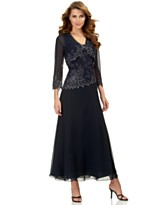 J Kara Sheer-Sleeve Asymmetrical-Hem Sequined Dress & Bolero