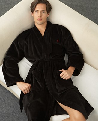 Polo Ralph Lauren Kimono Velour Robe - Robes Pajamas & Robes - Men's - Macy's from macys.com