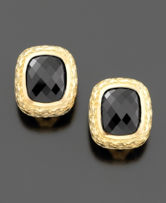 14k Gold Square Onyx Earrings