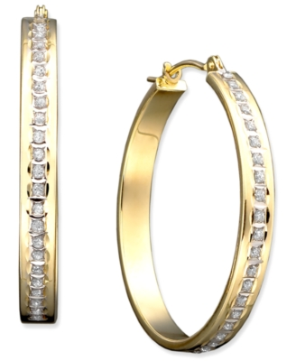 14k Gold Diamond Accent Bold Hoop Earrings