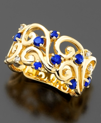 14k Gold Sapphire (5/8 ct. t.w.) & Diamond (5/8 ct. t.w.) Swirl Band Ring