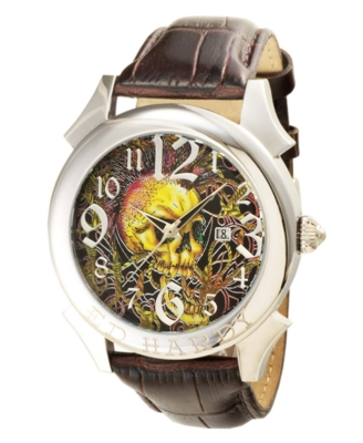 Ed Hardy Men's Brown Leather Strap Watch
