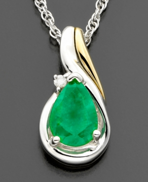 14k Gold & Sterling Silver Emerald (1/2 ct. t.w.) & Diamond Accent Pendant