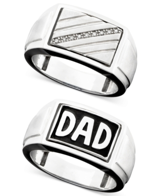 Men's Sterling Silver Diamond-Accent Reversible Dad Ring