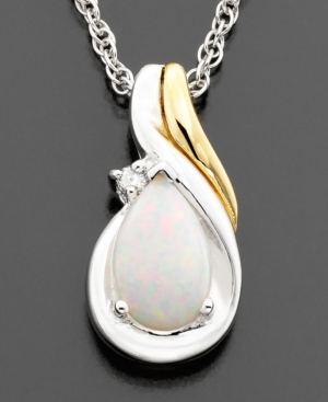 14k Gold & Sterling Silver Opal (3/8 ct. t.w.) & Diamond Accent Pendant