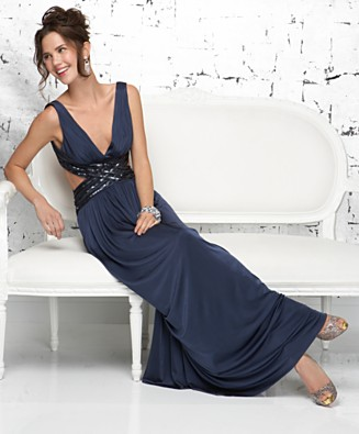 BCBGMAXAZRIA Sleeveless V-Neck Cutout Gown - Dresses - Women's - Macy's from macys.com