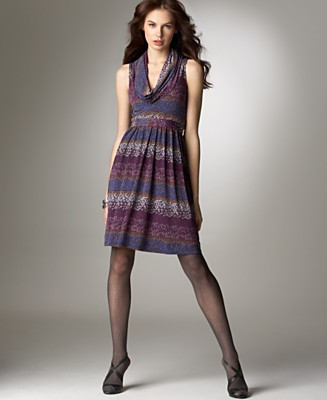BCBGeneration Sleeveless Printed Cowlneck Dress - Dresses - Women's - Macy's :  purple cowl neck short dress bcbgmaxazria