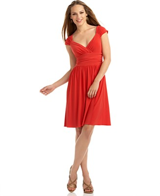 Nine West Cap-Sleeve Ruched-Waist Dress - Dresses - Women's - Macy's :  red nine west swing dress short dress