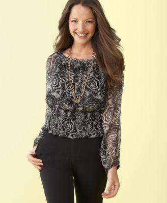 Charter club printed silk chiffon top long sleeve tops women s macy s