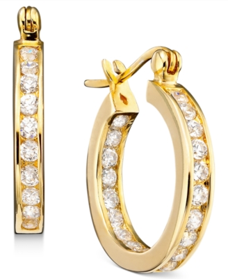 18k Gold Over Sterling Silver Cubic Zirconia Hoop Earrings (2-1/3 ct. t.w.)
